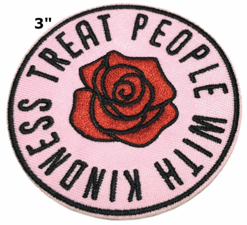 Treat People With Kindness 70s hippie retro boho love applique Hook /& Loop patch