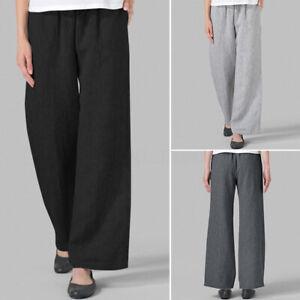 ZANZEA-Femme-Pantalon-Loisir-Ample-Taille-elastique-Poches-Jambes-larges-Plus