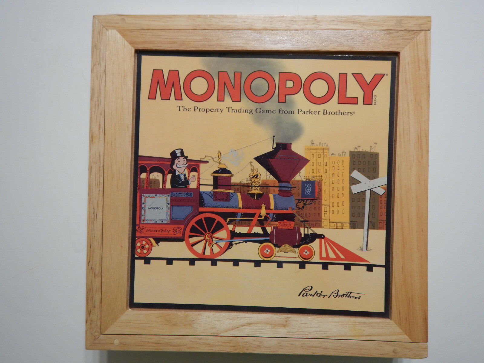 2001 Monopoly Board Game in Wood Box Nostalgia with Wooden Houses Used Complete