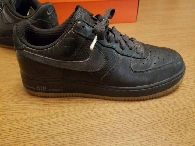 AF1 Nike Air Force 1 Low Premium Men's Size 8.5 Black Patent Gum Sole 318775 001