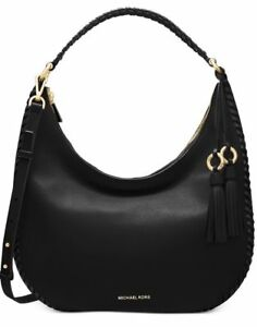 a42296c6b0f3 Michael Kors Lauryn Black Leather Large Tote Shoulder Handbag ...