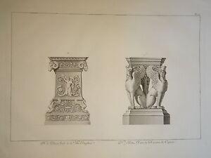 GRANDE-GRAVURE-XVIII-ORNEMENT-ARCHITECTURE-BORGHESE-CAPITOLE-ROME-ROMA-ITALIE