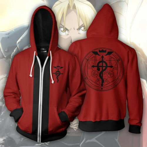 Anime Fullmetal Alchemist Zip Tops Pullover Hoodie Thin Jumper Sweatshirt