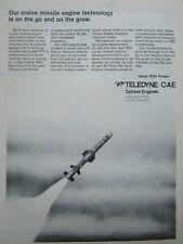 8/1980 PUB TELEDYNE CAE J402 TURBOJET ENGINE HARPOON MISSILE ORIGINAL AD