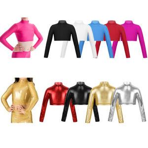 Girls-Stretch-Long-Sleeve-Crop-Top-Dance-Gymnastics-Turtleneck-Blouse-Shirt-Tops