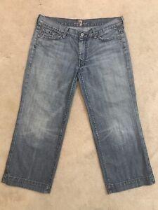 7-For-All-Mankind-Size-32-Dojo-Medium-Wash-Capri-Jeans