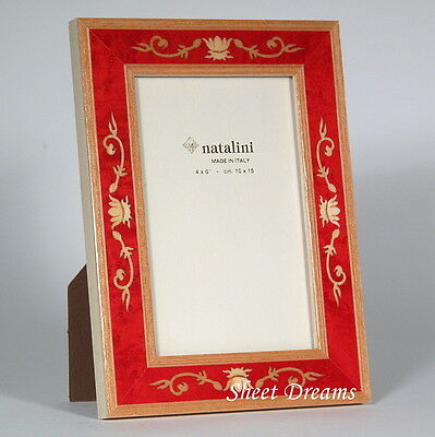 Natalini Luigi XIV Fuxia Red Hand Made Italy Marquetry 4x6  Photo Frame New