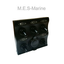 12V LED Impermeable 5 Gang Interruptor con enchufe Fundido Marine Eléctrico Panel de control