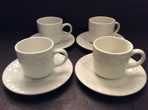 Gibson-Four-Seasons-China-Fruit-Pattern-Set-4-Flat-Cups-And-Saucers