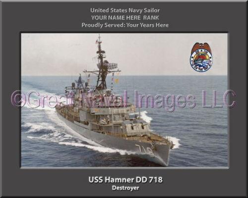 USS Hamner DD 718 Personalized Canvas Ship Photo Print Navy Veteran Gift