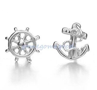 925 Sterling Silver - Anchor & Rudder Club Stud Mini Asymmetric Earrings Jewelry