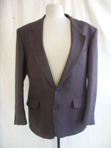 "Details about  Mens Suit Jacket Canda, 40"" chest, greyred checkhoundstooth, wool mix 0252"