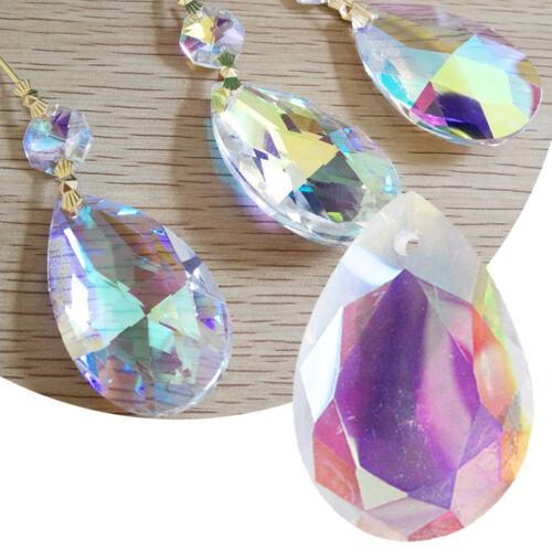 10//50Pcs Colorul Chandelier Glass Crystal Prism Hanging Drop Pendant Lamp Acces
