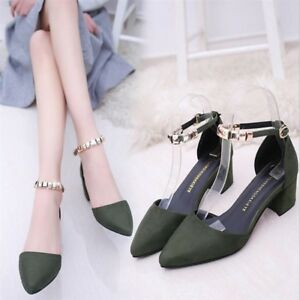 Women-039-s-Block-Heels-Pointed-Toe-Suede-A-Line-Straps-New-Leather-Shoes-Size-34-41