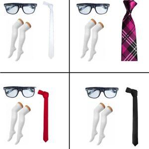NEW-GEEK-NERD-GLASSES-OTK-OVER-KNEE-SOCKS-amp-TIE-SCHOOL-GIRLS-FANCY-DRESS-COSTUME