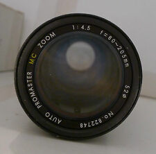 Promaster MC Zoom Auto 1:4.5 80-205mm Lens 52 NO End Caps - Japan TESTED