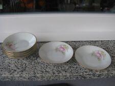 6 COUPELLES CARREES Porcelaine LIMOGES FLEUR ET DORURE 11,5 cm