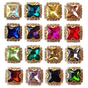 SEW ON FACETED SQUARE GEMS SMOKE 3 x 30mm