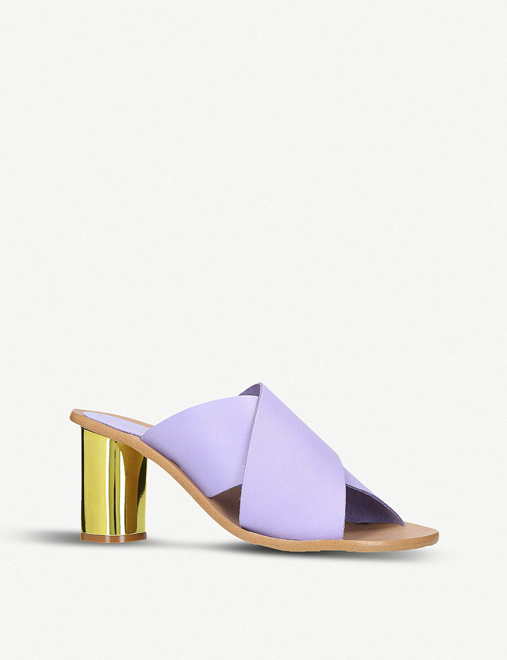 Kurt Geiger London Purple Cross Strap Metallic Heel Leder Mules EU Größe 7 EU Mules 40 0bd3f4