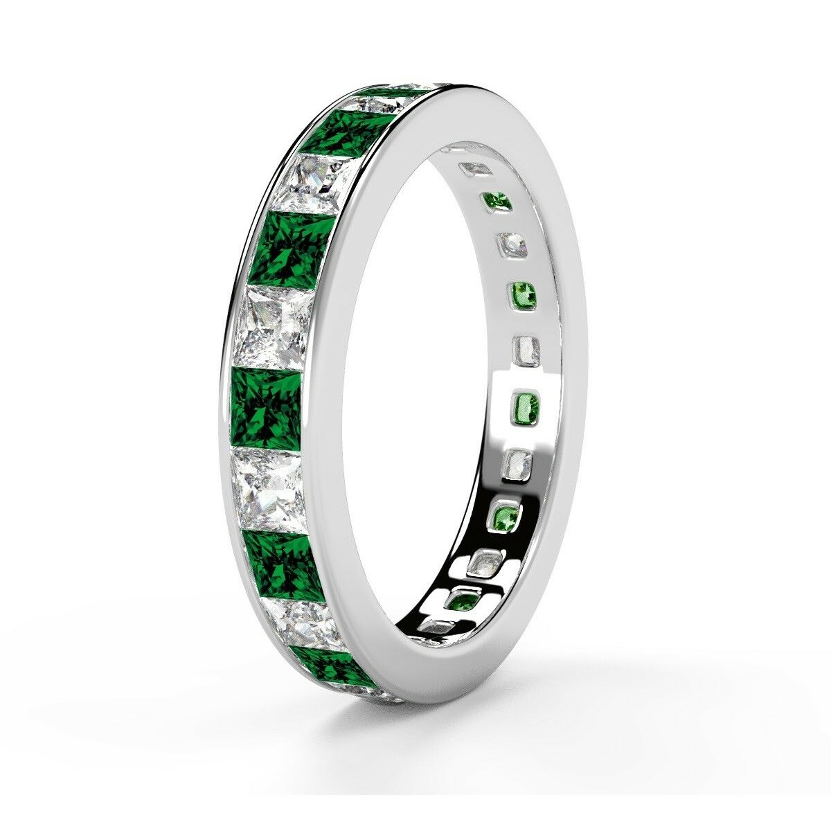 100% Natural 1.50ct Green Emerald & Princess Diamond Eternity Ring White gold