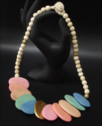 Schmuck Halskette Holzkette Holzplättchen mehrfarbig 55cm Bunt #7