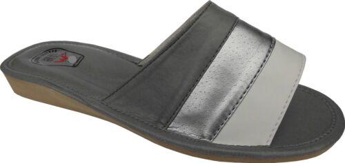 Silber-Grau VEGAN Pantolette Kunst LEDER weich/&leicht Hausschuhe Gr.41