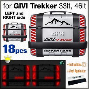 18pcs-Rifrangenti-Adesivi-Nero-Rosso-compatibile-Suzuki-V-Strom-650-GIVI-Trekker