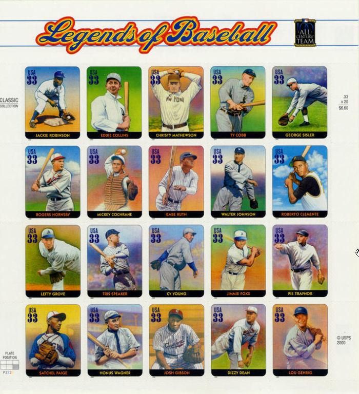 2000 33c Legends of Baseball, Souvenir Sheet of 20 Scot