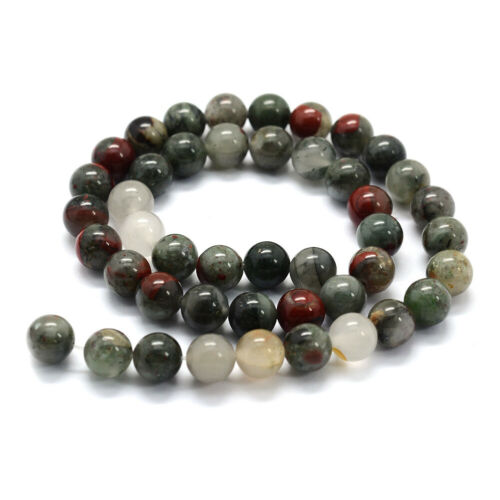 5 Strd Natural African Bloodstone Beads Smooth Gems Loose Spacer 6~10mm 14.9/'/'