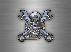 Autocollant sticker voiture moto macbook skull piston moteur tete de mort tuning