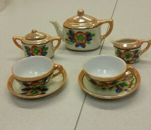 7 pc.Vintage Asian Fine China Miniature Tea Set Made in Japan collectible danity