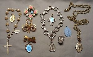 Details about Lot of 1950s Vintage Catholic Medals Blue Enameled Mary  Brooch Bracelet Cross +