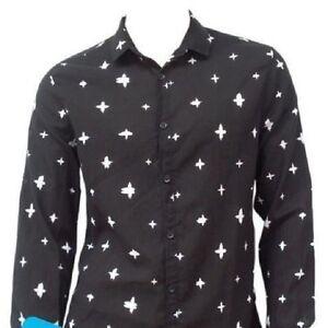 ASOS-Black-Print-100-Cotton-Long-Sleeve-Shirt-Size-Medium-40-034-Chest-BNWT