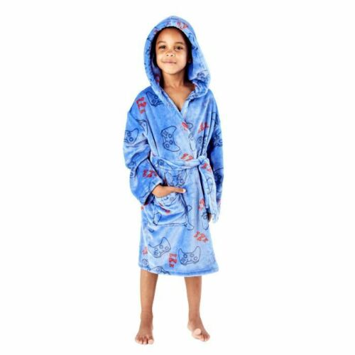 Boys//Childrens Fleece Game Hooded Robe//Dressing Gown Blue