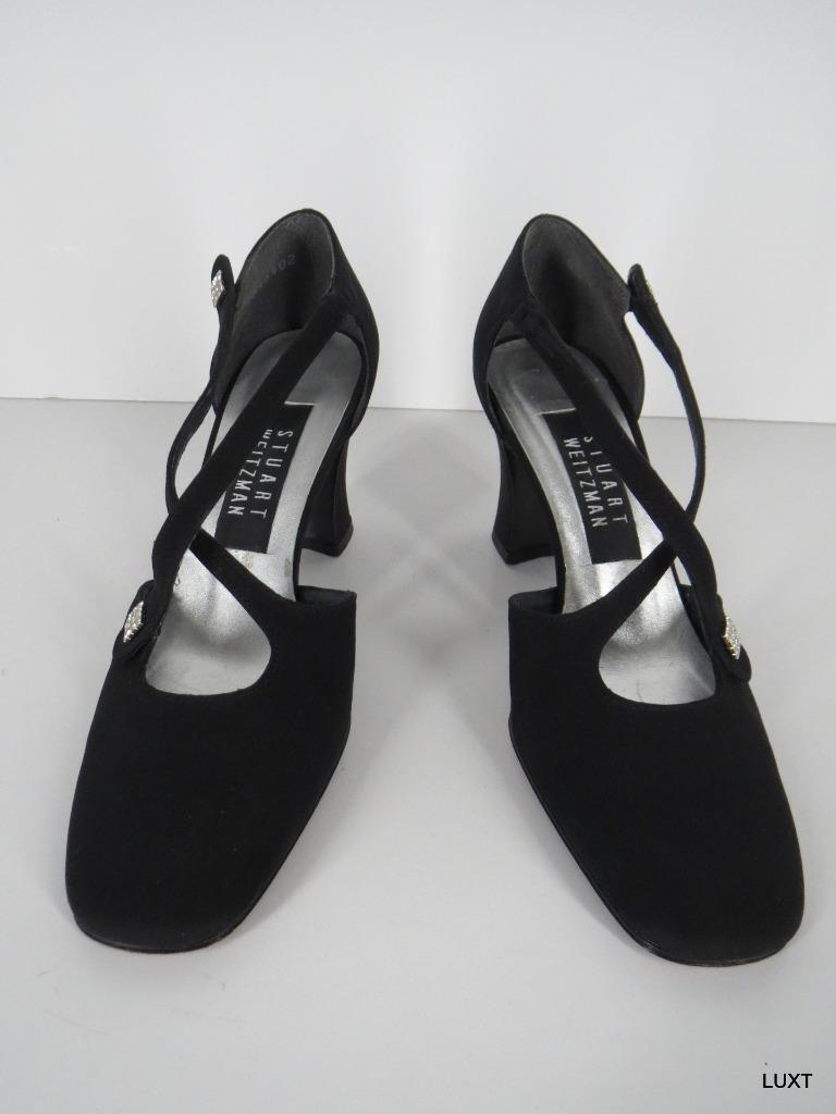 forma unica Stuart Weitzman Evening Heels Heels Heels Pumps Sz 5.5 nero Nylon Strappy Rhinestone Formal  sconto di vendita