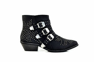 Therapy-Shoes-Piccadilly-Low-Block-Heels-Flat-Ankle-Biker-Boots-Black-SIZE-6