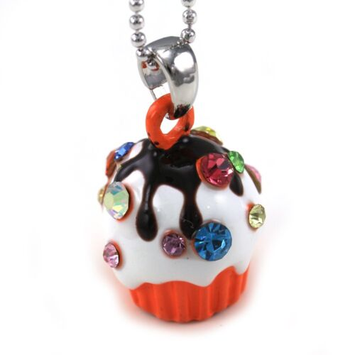 Adorable Party Chocolate White Cupcake Pendant Necklace Children Jewelry Charm a