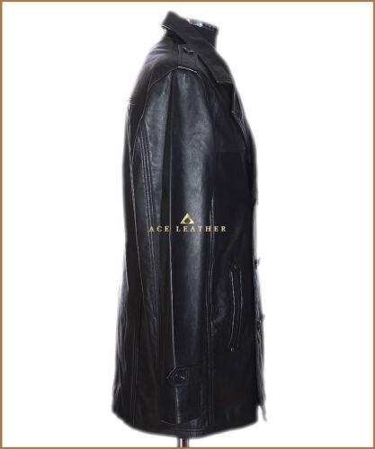 De Niro Black Mens Smart Vintage Style Real Soft Cowhide Leather Trench Coat