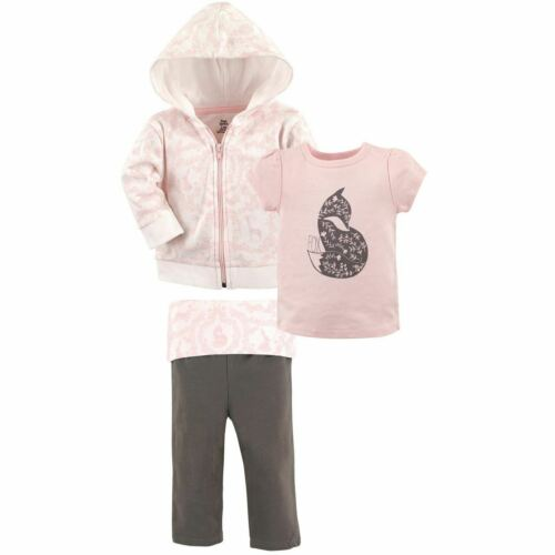 3-Piece Set Tee Top and Pants Yoga Sprout Girl Toddler Hoodie Pink Fox