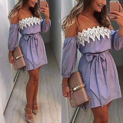 Women Lace Off Shoulder Bow Tie Dress Summer Party Sundress Ladies Beach Dress
