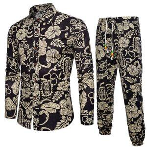 Mens-Casual-Hot-Long-Sleeve-Shirt-Business-Slim-Fit-Shirt-Print-Blouse-Top-Pants