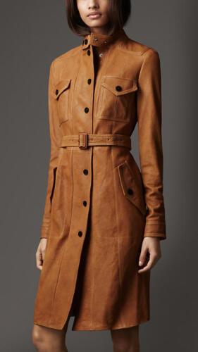 Dame Blazer Trench Læder Original Coat Long Lambskin Overcoat Soft O6Bnw6rx