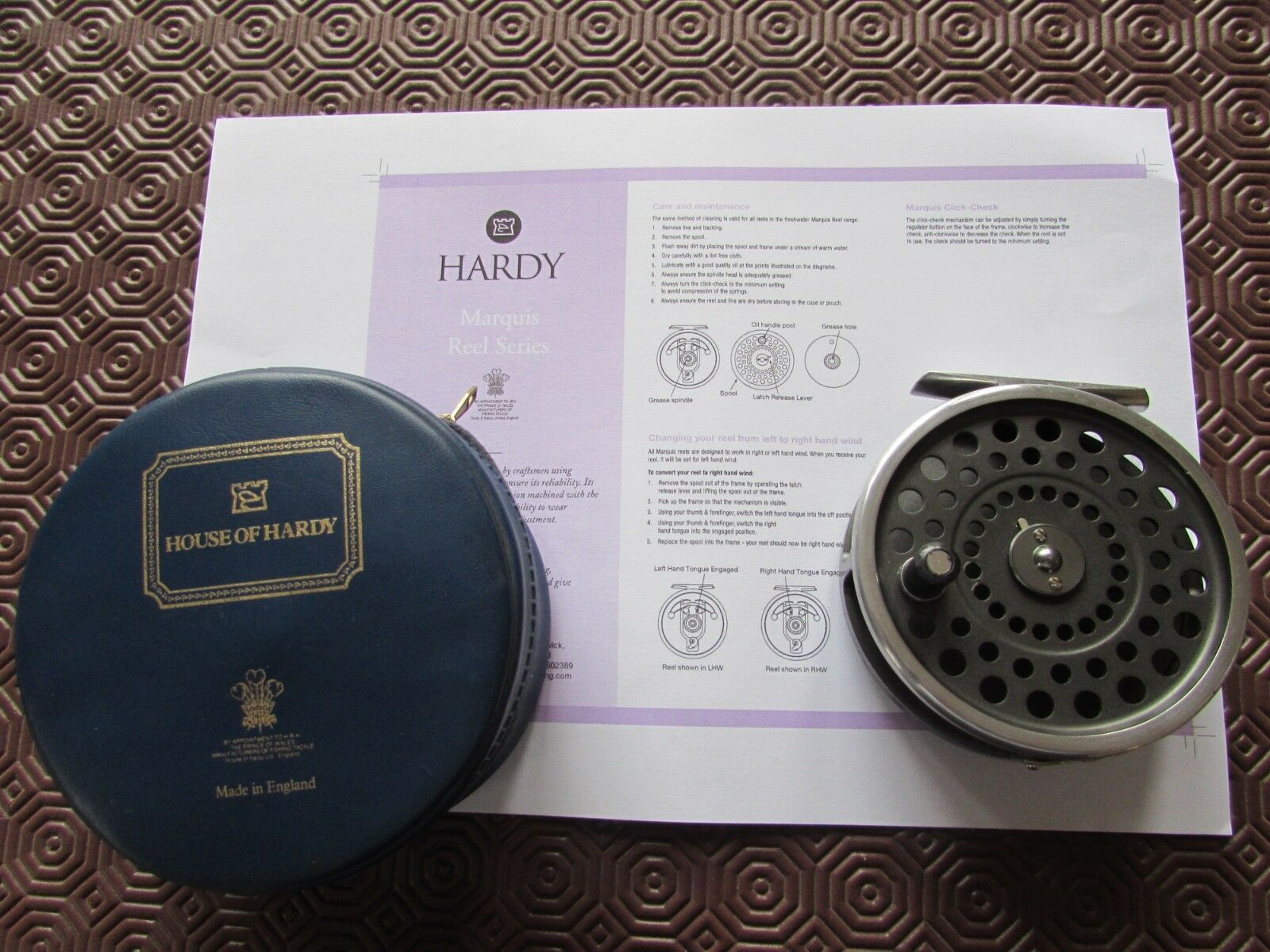 V good vintage hardy marquis no.8 9  trout fly fishing reel 3 & 5 8ths  + case..