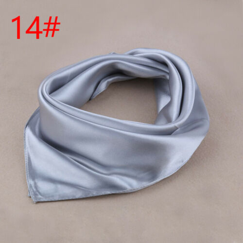 Women/'s Satin Silk Square Scarf Bandana Neckerchief Solid Head Neck Wrap 60×60cm
