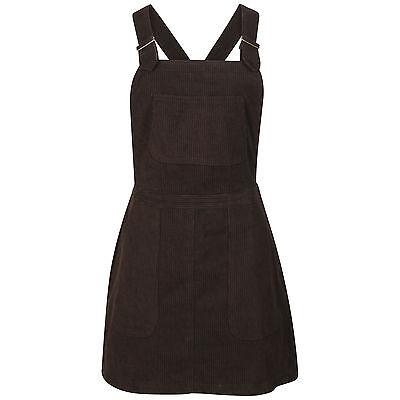 DeMina Womens Ladies Chocolate Mock Cord Dungaree Skirt Dungaree Pinafore