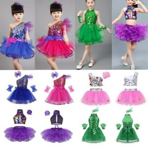 49c1727ac Kid Girls Sequins Jazz Tap Ballet Dance Costume Outfit Sparkly ...