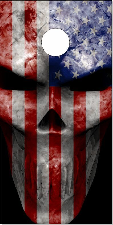 American Flag  Skull LAMINATED Cornhole Wrap Bag Toss Skin Decal  not to be missed!