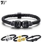TT Black Leather 316L Stainless Steel Skull Magnet Buckle Bracelet (BR231) NEW