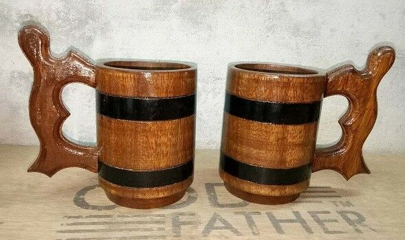 Natural Handmade Wood Cup Wooden Mug Tea Beer Milk Drinking Tumbler Beer set off