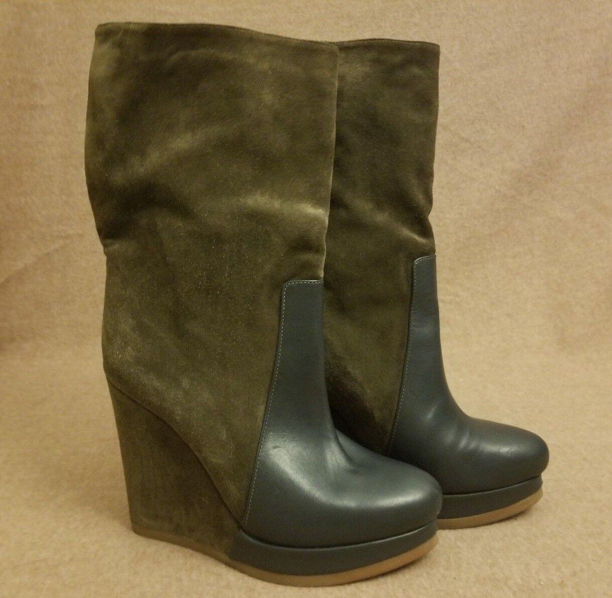 Jil Sander Women Olive Leather Suede Tall Platform Wedge High Heel Boots Size 39